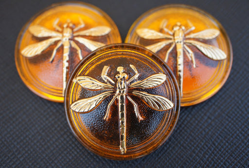 1 pc Czech Glass Cabochon Topaz Gold Dragonfly (Smooth Reverse Side), Hand Painted, Size 14 (32mm)