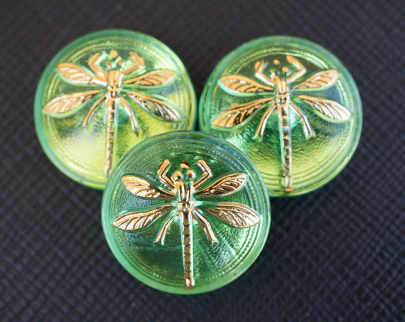 1 pc Czech Glass Cabochon Green Gold Dragonfly (Smooth Reverse Side), Hand Painted, Size 8 (18mm)