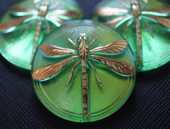 Czech Glass Cabochon Green Gold Dragonfly (Smooth Reverse Side), Hand Painted, Size 18 (40.5mm)