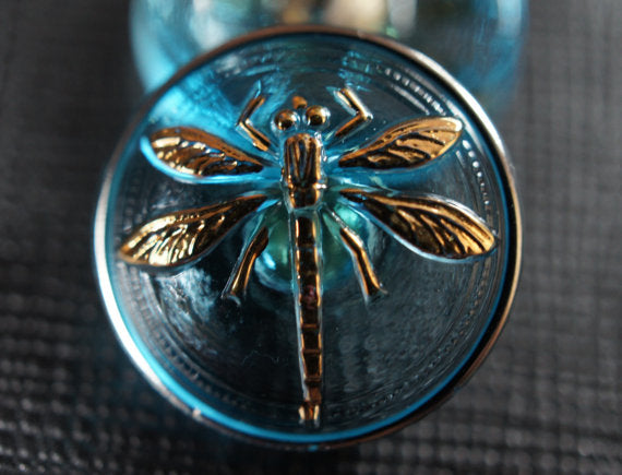 1 pc Czech Glass Button, Transparent Blue Gold Dragonfly, Hand Painted, Size 8 (18mm)