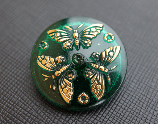 1 pc Czech Glass Button, Emerald Golden Butterfly, Hand Painted, Size 12 (27mm)