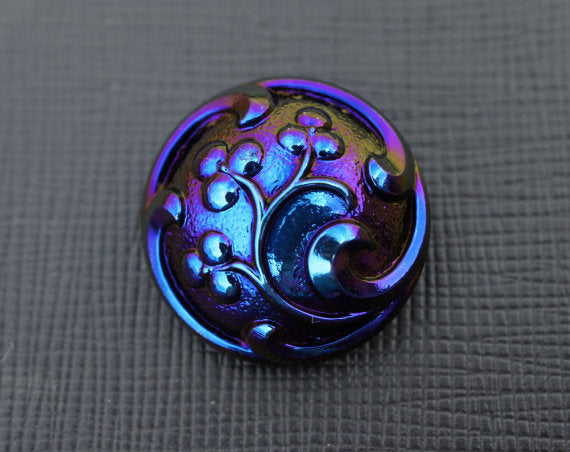 1 pc Czech Glass Button, Jet Blue AB, Hand Painted, Size 10 (22.5mm)
