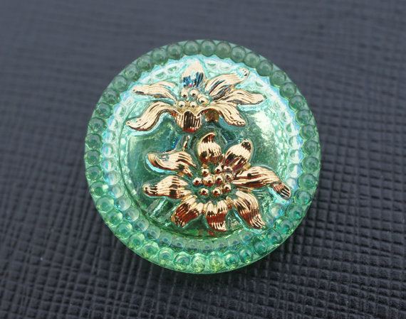 1 pc Czech Glass Button, Green Transparent Golden Flowers, Hand Painted, Size 10 (22.5mm)