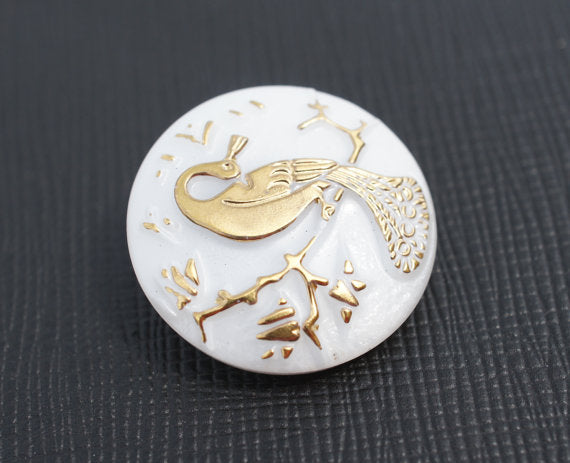 1 pc Czech Glass Button, White AB Golden Peacock, Hand Painted, Size 10 (22.5mm)