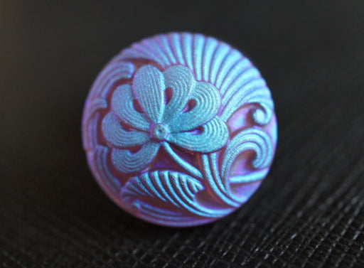 1 pc Czech Glass Button, Amethyst Flower Blue AB Matte, Hand Painted, Size 8 (18mm)