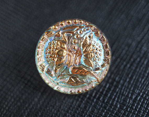 1 pc Czech Glass Button, Crystal AB Gold Flowers, Hand Painted, Size 8 (18mm)