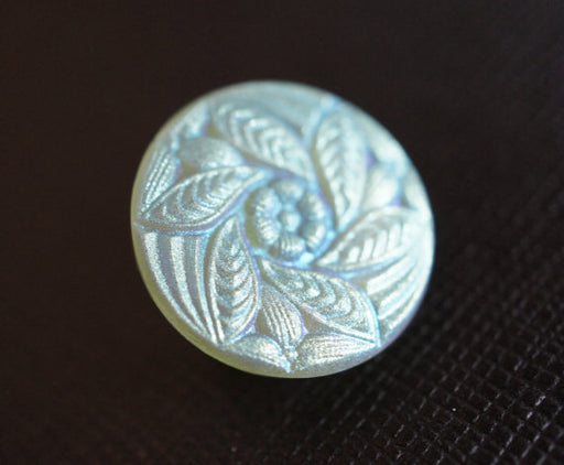 1 pc Czech Glass Button, Flower Light Green AB Matte, Hand Painted, Size 8 (18mm)