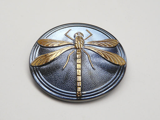 1 pc Czech Glass Cabochon Light Blue Gold Dragonfly (Smooth Reverse Side), Hand Painted, Size 18 (40.5mm)