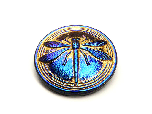1 pc Czech Glass Cabochon Blue Gold Blue Dragonfly (Smooth Reverse Side), Hand Painted, Size 14 (32mm)