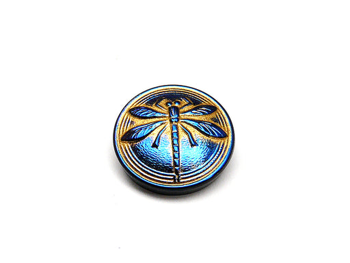 1 pc Czech Glass Cabochon Blue Gold Blue Dragonfly (Smooth Reverse Side), Hand Painted, Size 8 (18mm)