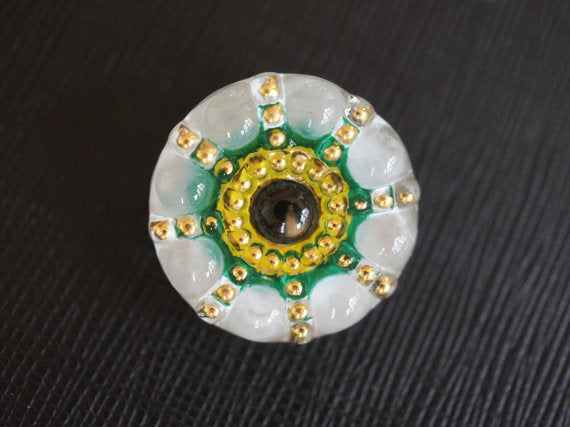 1 pc Czech Glass Button, White Green Yellow Gold, Hand Painted, Size 10 (22.5mm)