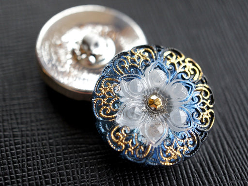 1 pc Czech Glass Button, Blue Flower White Gold Ornament, Hand Painted, Size 10 (22.5mm)
