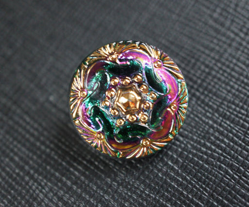 1 pc Czech Glass Button, Green Pink Gold Ornament, Hand Painted, Size 8 (18mm)