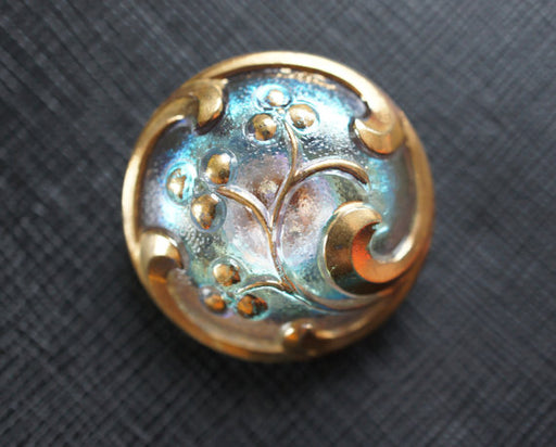 1 pc Czech Glass Button, Blue Gold Ornament, Hand Painted, Size 12 (27mm)