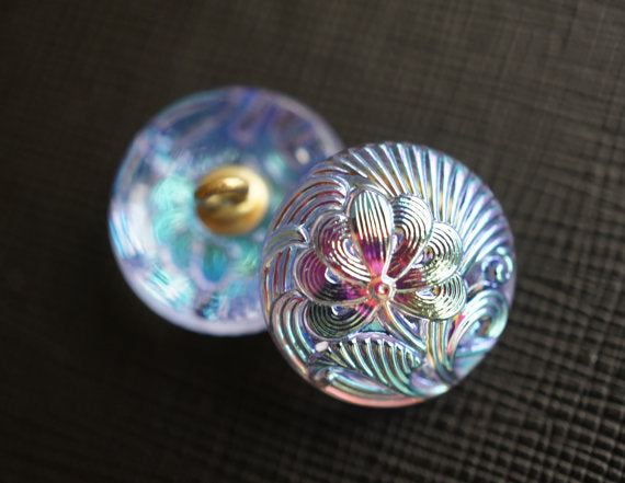 1 pc Czech Glass Button, Flower Blue Pink AB, Hand Painted, Size 8 (18mm)
