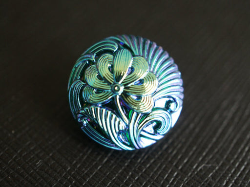 1 pc Czech Glass Button, Flower Emerald Blue AB, Hand Painted, Size 8 (18mm)