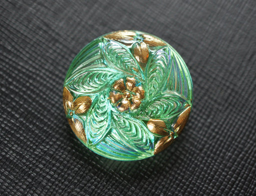 1 pc Czech Glass Button, Light Green Transparent AB Gold, Hand Painted, Size 12 (27mm)