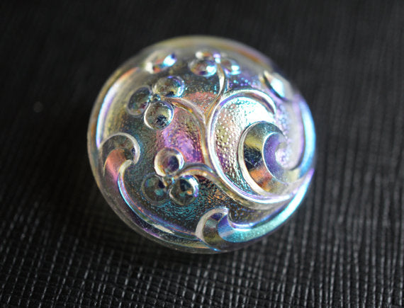1 pc Czech Glass Button, Flower Crystal AB, Hand Painted, Size 12 (27mm)