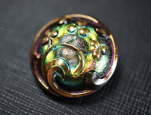 1 pc Czech Glass Button, Crystal Green Pink Vitrail Gold Ornament, Hand Painted, Size 12 (27mm)