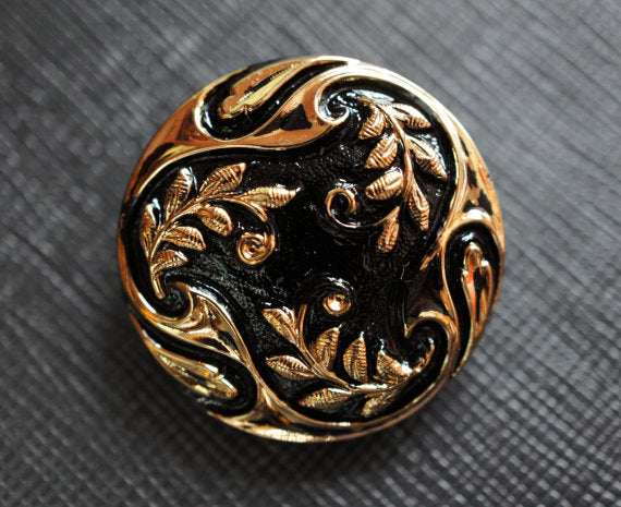 1 pc Czech Glass Button, Jet Black Gold Ornament, Hand Painted, Size 12 (27mm)