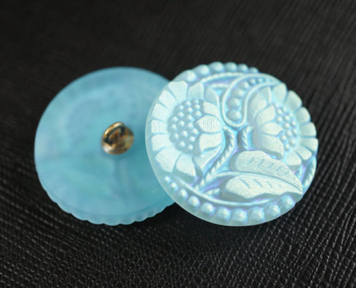 1 pc Czech Glass Button, Flower Light Blue AB Matte, Hand Painted, Size 12 (27mm)