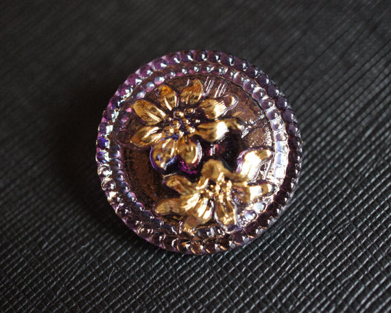 1 pc Czech Glass Button, Amethyst AB Gold Flower, Hand Painted, Size 12 (27mm)