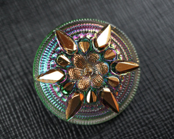 Czech Glass Button, Flower Crystal Vitrail Gold Star, Hand Painted, Size 12 (27mm)
