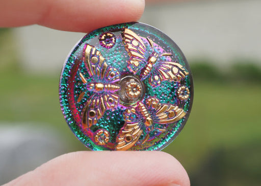 1 pc Czech Glass Button, Green Pink Vitrail Gold Butterfly, Hand Painted, Size 12 (27mm)