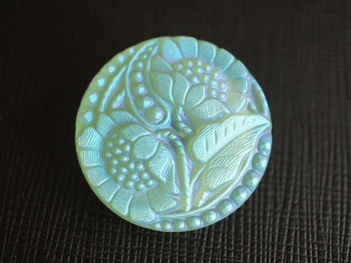 1 pc Czech Glass Button, Flower Light Green AB Matte, Hand Painted, Size 12 (27mm)