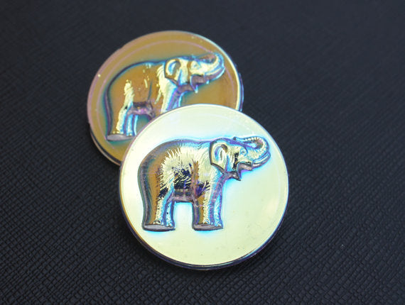 Czech Glass Button, White Elephant Silver AB, Hand Painted, Size 14 (32mm)