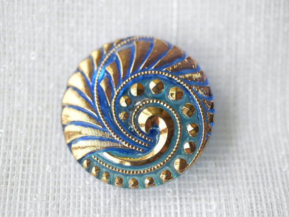 1 pc Czech Glass Button, Blue Combi Light Blue Gold Ornament, Hand Painted, Size 12 (27mm)