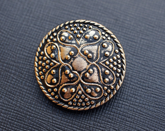 1 pc Czech Glass Button, Black Gold Ornament, Hand Painted, Size 14 (32mm)
