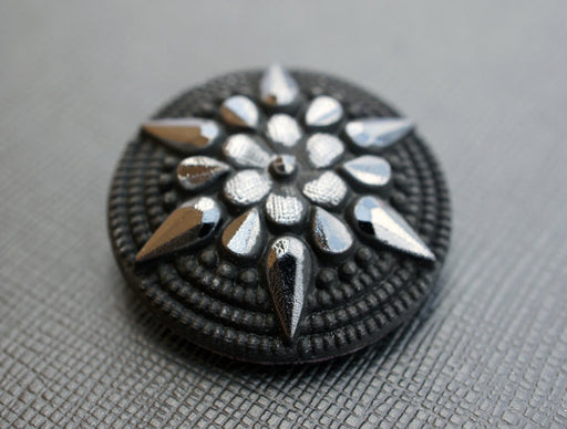 1 pc Czech Glass Button, Jet Black Matte Star Flower, Hand Painted, Size 14 (32mm)
