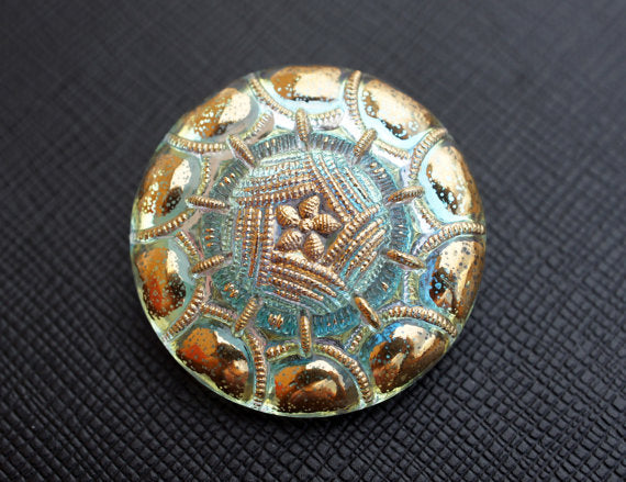 Czech Glass Button, Crystal AB Gold Ornament, Hand Painted, Size 14 (32mm)