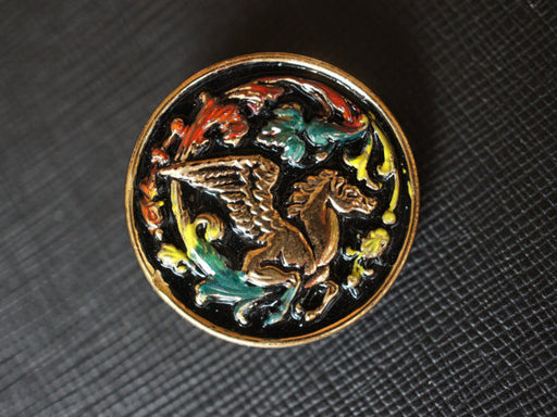 1 pc Czech Glass Button, Black with Gold Pegasus, Hand Painted, Size 12 (27mm)