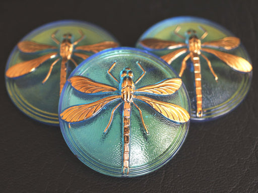 1 pc Czech Glass Cabochon Light Sapphire AB Gold Dragonfly, Hand Painted, Size 18 (40.5mm)