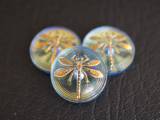 1 pc Czech Glass Cabochon Light Sapphire AB Gold Dragonfly, Hand Painted, Size 8 (18mm)