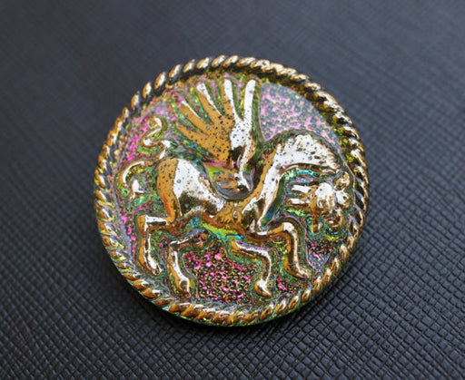 1 pc Czech Glass Button, Green Vitrail Gold Pegasus, Hand Painted, Size 16 (36mm)