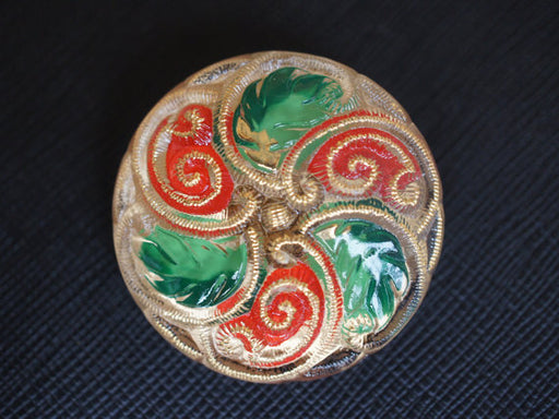 1 pc Czech Glass Button, Gold Red Green, Hand Painted, Size 16 (36mm)