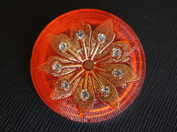 1 pc Czech Glass Button, Red Gold Flower with Crystal Rhinestones, Hand Painted, Size 16 (36mm)
