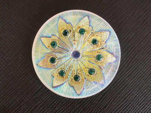 1 pc Czech Glass Button, White Golden Flower with Green Rhinestones, Hand Painted, Size 16 (36mm)