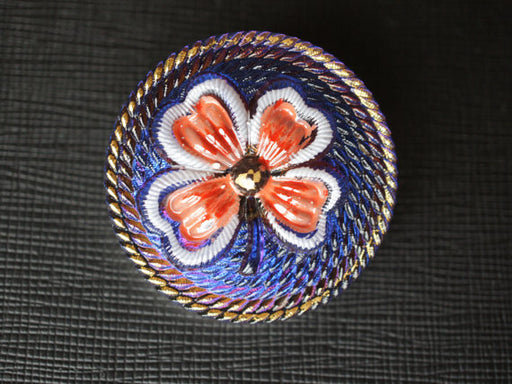 1 pc Czech Glass Button, Blue with Red Clover, Hand Painted, Size 16 (36mm)
