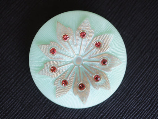1 pc Czech Glass Button, Turquoise Green Opal Silver Flower with Red Rhinestones, Hand Painted, Size 16 (36mm)