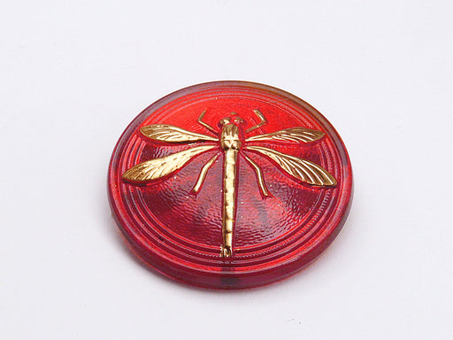 1 pc Czech Glass Cabochon Ruby Gold Dragonfly (Smooth Reverse Side), Hand Painted, Size 14 (32mm)