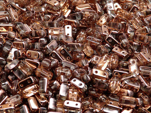 50 pcs 2-hole Brick Pressed Beads, 3x6mm, Crystal Capri Gold, Czech Glass