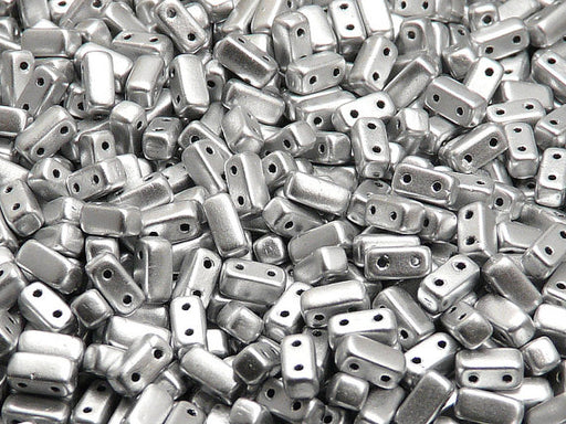50 pcs 2-hole Brick Pressed Beads, 3x6mm, Crystal Bronze Aluminum (Silver Aluminum), Czech Glass