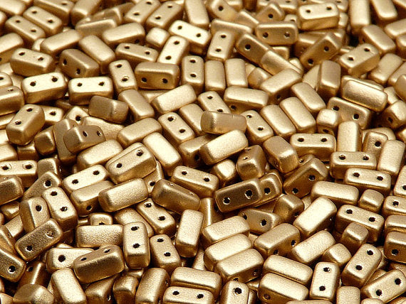 50 pcs 2-hole Brick Pressed Beads, 3x6mm, Crystal Bronze Pale Gold, Czech Glass