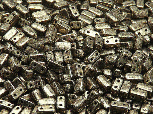 50 pcs 2-hole Brick Pressed Beads, 3x6mm, Antique Chrome, Czech Glass