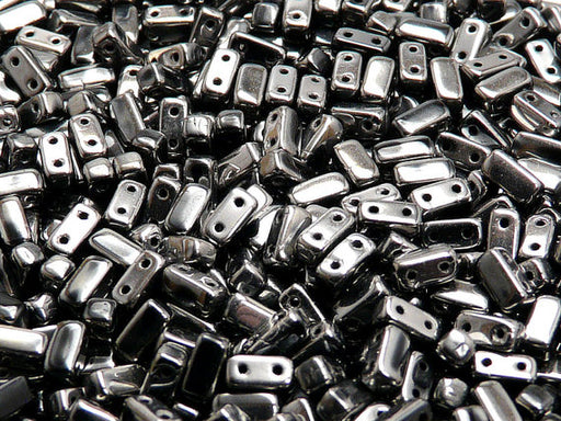 50 pcs 2-hole Brick Pressed Beads, 3x6mm, Jet Full Chrome, Czech Glass