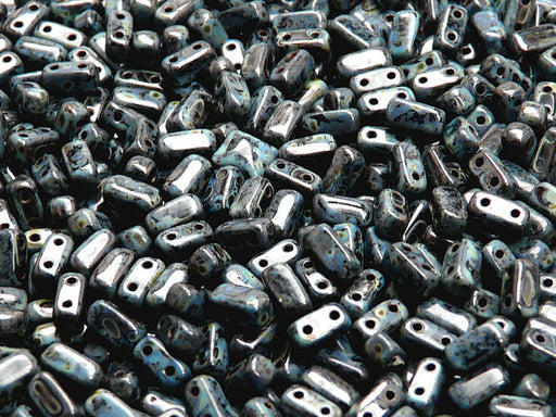 50 pcs 2-hole Brick Pressed Beads, 3x6mm, Jet Travertine Dark, Czech Glass